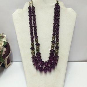 Gorgeous Robert Rose Purple & Gold Necklace